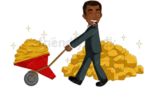 Black businessman carrying gold. PNG - JPG and vector EPS (infinitely scalable). Image isolated on transparent background.