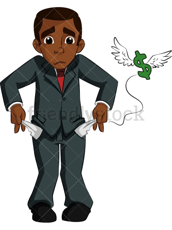 Black businessman with empty pockets. PNG - JPG and vector EPS (infinitely scalable). Image isolated on transparent background.