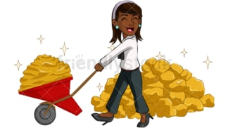 Black businesswoman carrying gold. PNG - JPG and vector EPS (infinitely scalable). Image isolated on transparent background.