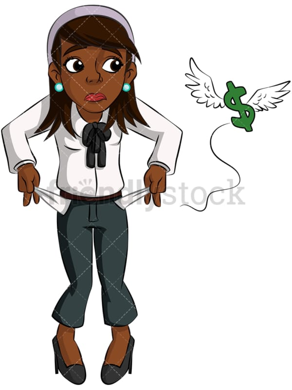 Black businesswoman with no money. PNG - JPG and vector EPS (infinitely scalable). Image isolated on transparent background.