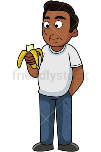 Black man enjoying banana. PNG - JPG and vector EPS. Image isolated on transparent background.
