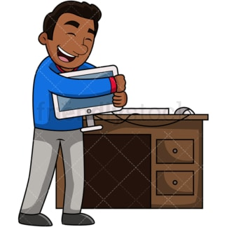 Black man hugging computer. PNG - JPG and vector EPS file formats (infinitely scalable). Image isolated on transparent background.