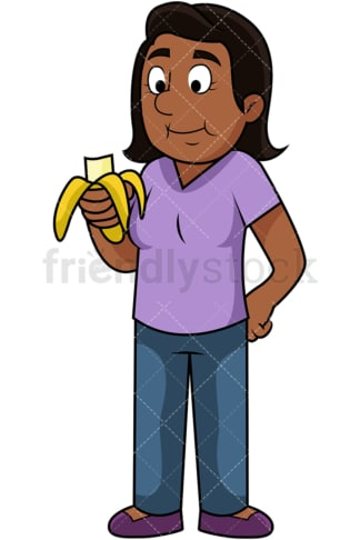 Black woman enjoying banana. PNG - JPG and vector EPS. Image isolated on transparent background.