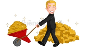 Businessman carrying gold. PNG - JPG and vector EPS (infinitely scalable). Image isolated on transparent background.