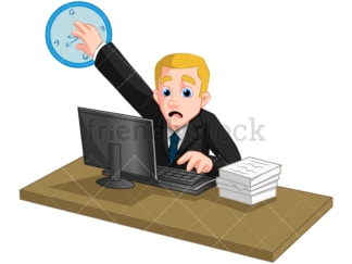 Businessman working on a deadline. PNG - JPG and vector EPS (infinitely scalable). Image isolated on transparent background.