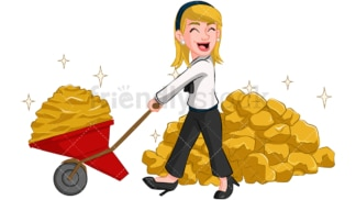 Businesswoman carrying gold. PNG - JPG and vector EPS (infinitely scalable). Image isolated on transparent background.