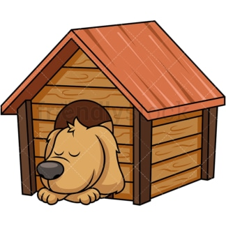 Doggy sleeping inside dog house. PNG - JPG and vector EPS file formats (infinitely scalable). Image isolated on transparent background.