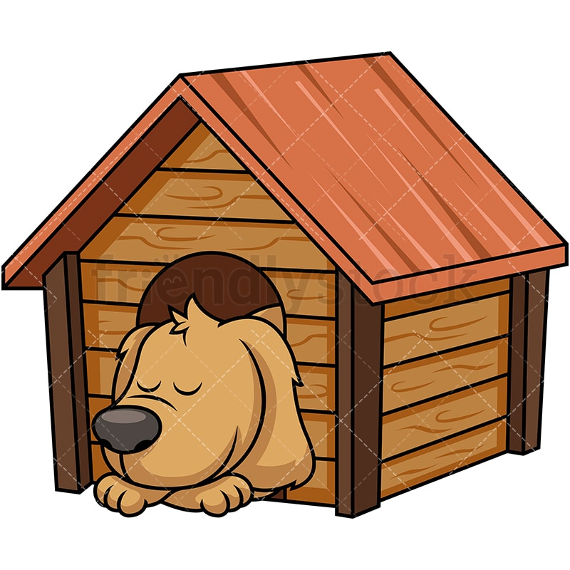 Doggy Sleeping Inside Dog House Cartoon Vector Clipart ...