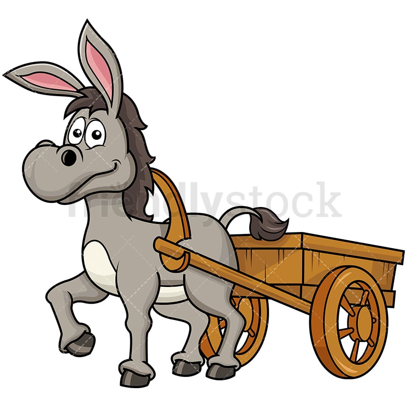 donkey pulling farm carriage cartoon vector clipart
