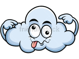 Goofy crazy eyes cloud emoticon. PNG - JPG and vector EPS file formats (infinitely scalable). Image isolated on transparent background.