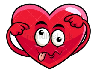 Goofy crazy eyes heart emoticon. PNG - JPG and vector EPS file formats (infinitely scalable). Image isolated on transparent background.