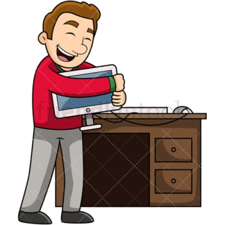 Man loving his computer. PNG - JPG and vector EPS file formats (infinitely scalable). Image isolated on transparent background.