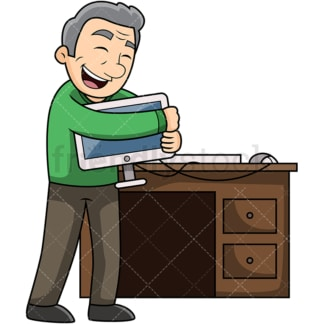Old man loving his computer. PNG - JPG and vector EPS file formats (infinitely scalable). Image isolated on transparent background.