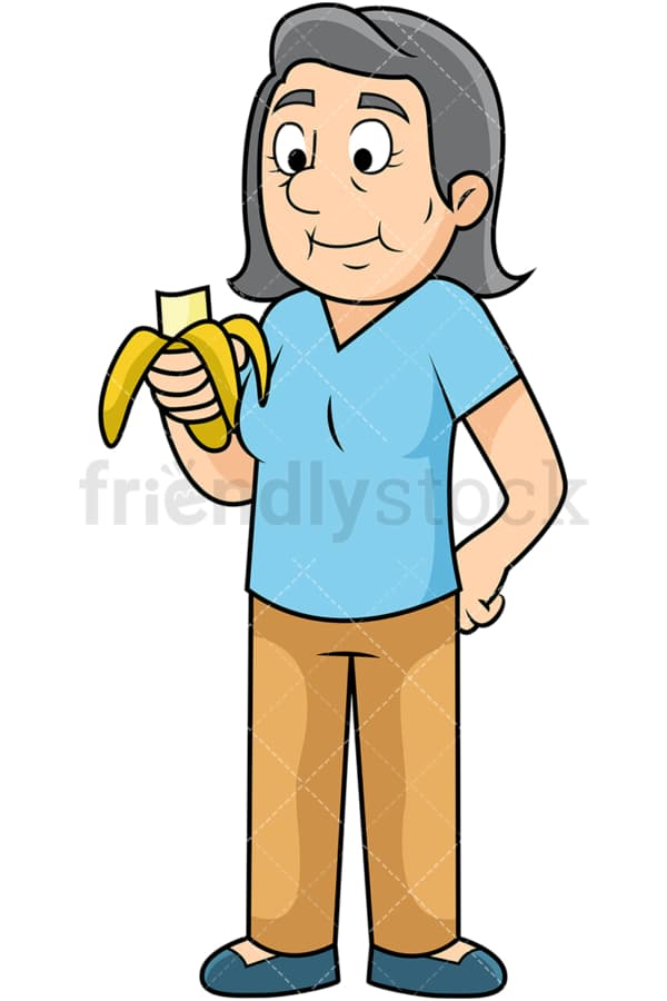 Old woman enjoying banana. PNG - JPG and vector EPS. Image isolated on transparent background.
