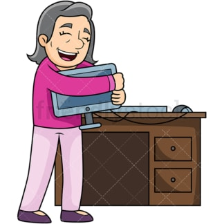 Old woman hugging computer. PNG - JPG and vector EPS file formats (infinitely scalable). Image isolated on transparent background.