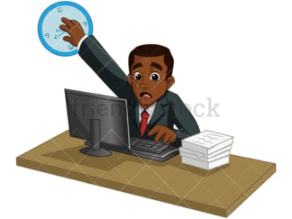 Overwhelmed black businessman. PNG - JPG and vector EPS (infinitely scalable). Image isolated on transparent background.