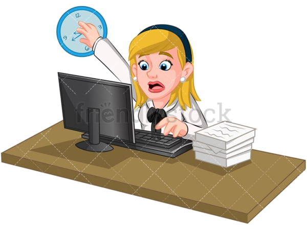 Overwhelmed businesswoman trying to stop time. PNG - JPG and vector EPS (infinitely scalable). Image isolated on transparent background.