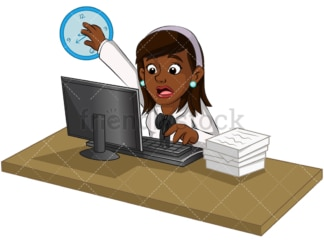 Overworked black businesswoman. PNG - JPG and vector EPS (infinitely scalable). Image isolated on transparent background.