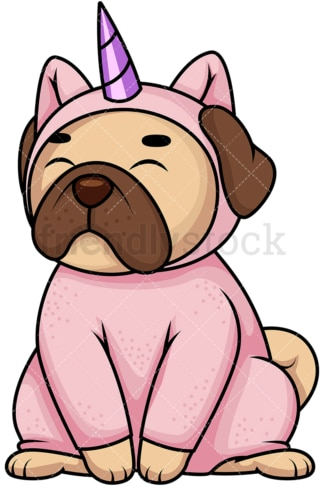 Pug dog in unicorn costume. PNG - JPG and vector EPS file formats (infinitely scalable). Image isolated on transparent background.