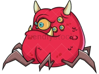 Scary monster with lots of eyes. PNG - JPG and vector EPS (infinitely scalable). Image isolated on transparent background.