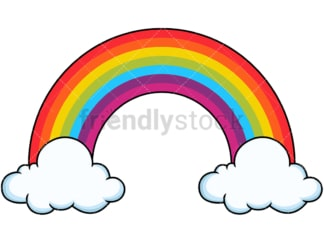 Tall rainbow with coulds. PNG - JPG and vector EPS file formats (infinitely scalable). Image isolated on transparent background.