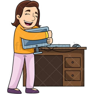 Woman in love with computer. PNG - JPG and vector EPS file formats (infinitely scalable). Image isolated on transparent background.