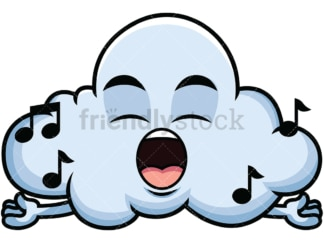 Singing cloud emoticon. PNG - JPG and vector EPS file formats (infinitely scalable). Image isolated on transparent background.