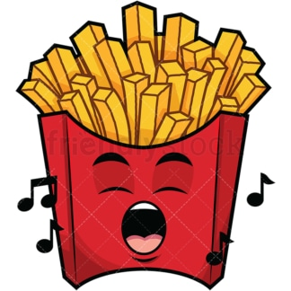 Singing french fries emoticon. PNG - JPG and vector EPS file formats (infinitely scalable). Image isolated on transparent background.