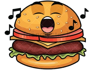 Singing hamburger emoticon. PNG - JPG and vector EPS file formats (infinitely scalable). Image isolated on transparent background.