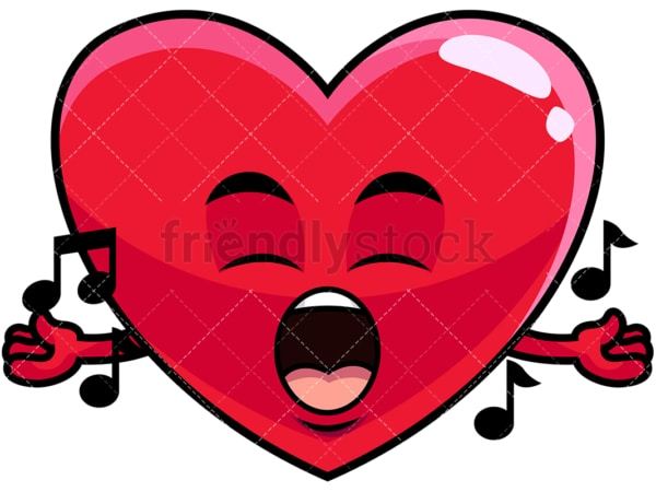 Singing heart emoticon. PNG - JPG and vector EPS file formats (infinitely scalable). Image isolated on transparent background.