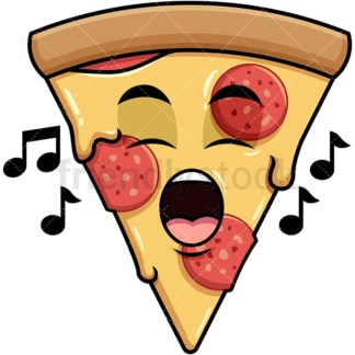 Singing pizza emoticon. PNG - JPG and vector EPS file formats (infinitely scalable). Image isolated on transparent background.