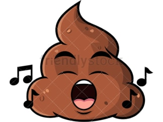 Singing poop emoticon. PNG - JPG and vector EPS file formats (infinitely scalable). Image isolated on transparent background.