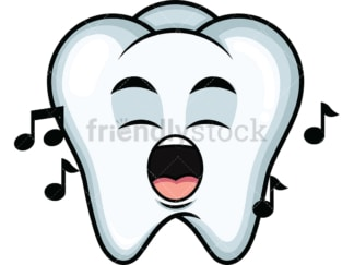 Singing tooth emoticon. PNG - JPG and vector EPS file formats (infinitely scalable). Image isolated on transparent background.