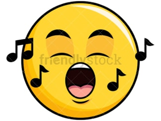 Singing yellow smiley emoticon. PNG - JPG and vector EPS file formats (infinitely scalable). Image isolated on transparent background.