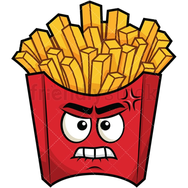 Angry french fries emoticon. PNG - JPG and vector EPS file formats (infinitely scalable). Image isolated on transparent background.