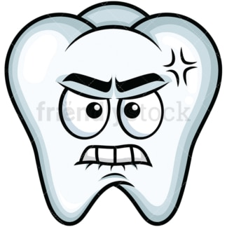 Angry tooth emoticon. PNG - JPG and vector EPS file formats (infinitely scalable). Image isolated on transparent background.