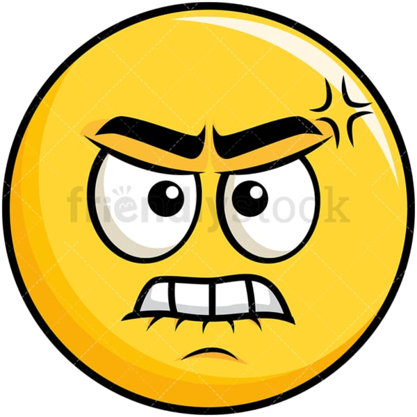 Angry yellow smiley emoticon. PNG - JPG and vector EPS file formats (infinitely scalable). Image isolated on transparent background.