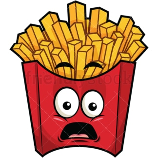 Shocked french fries emoticon. PNG - JPG and vector EPS file formats (infinitely scalable). Image isolated on transparent background.