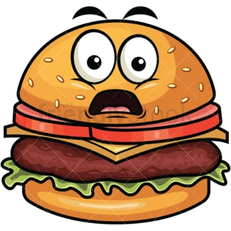 Shocked hamburger emoticon. PNG - JPG and vector EPS file formats (infinitely scalable). Image isolated on transparent background.