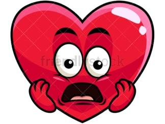 Shocked heart emoticon. PNG - JPG and vector EPS file formats (infinitely scalable). Image isolated on transparent background.