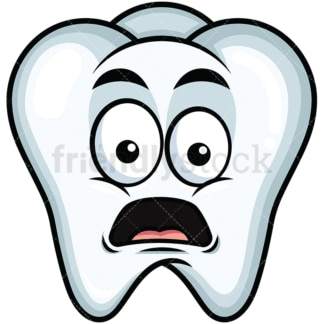 Shocked tooth emoticon. PNG - JPG and vector EPS file formats (infinitely scalable). Image isolated on transparent background.