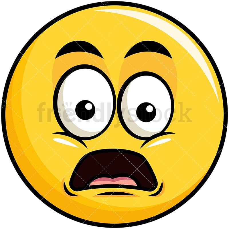 shocked yellow smiley emoji cartoon vector clipart