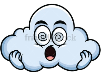 Stunned cloud emoticon. PNG - JPG and vector EPS file formats (infinitely scalable). Image isolated on transparent background.