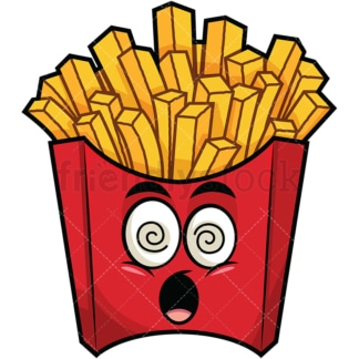 Stunned french fries emoticon. PNG - JPG and vector EPS file formats (infinitely scalable). Image isolated on transparent background.