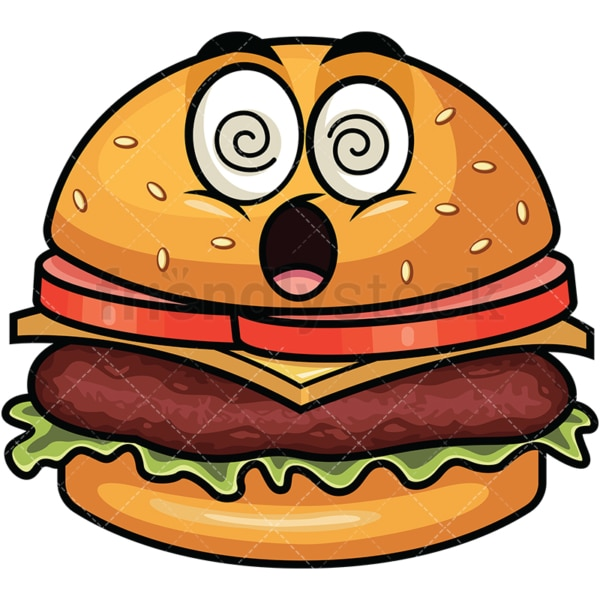 Stunned hamburger emoticon. PNG - JPG and vector EPS file formats (infinitely scalable). Image isolated on transparent background.
