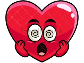 Stunned heart emoticon. PNG - JPG and vector EPS file formats (infinitely scalable). Image isolated on transparent background.