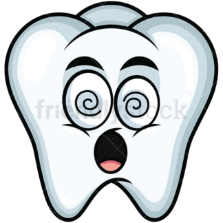 Stunned tooth emoticon. PNG - JPG and vector EPS file formats (infinitely scalable). Image isolated on transparent background.