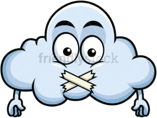 Taped mouth cloud emoticon. PNG - JPG and vector EPS file formats (infinitely scalable). Image isolated on transparent background.