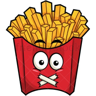 Taped mouth french fries emoticon. PNG - JPG and vector EPS file formats (infinitely scalable). Image isolated on transparent background.