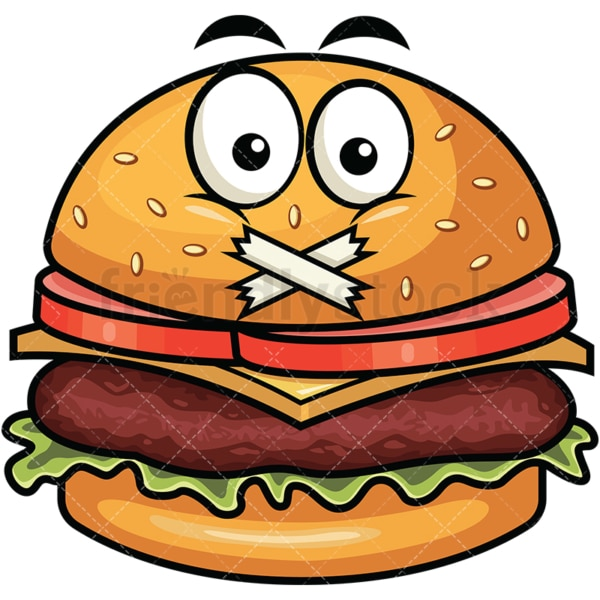 Taped mouth hamburger emoticon. PNG - JPG and vector EPS file formats (infinitely scalable). Image isolated on transparent background.